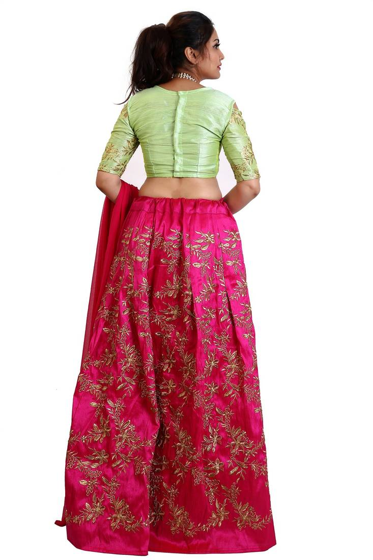 7717a911b8b Pink Mulberry silk Embroidered lehenga Choli with Dupatta - Daaginey ...