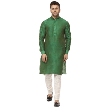 Green plain raw silk kurta pajama