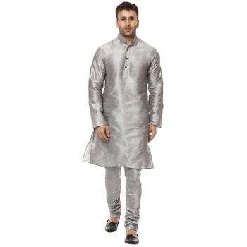 Grey Plain Raw Silk Kurta Pajama