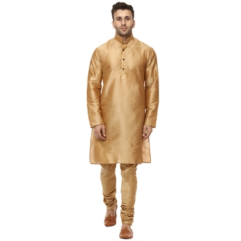 Gold Plain Raw Silk Kurta Pajama