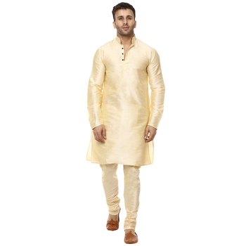 Beige plain raw silk kurta pajama