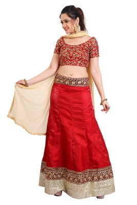 Maroon Banglori silk embroidered Lehenga choli with dupatta