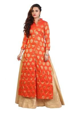 61a7e1e8f8 Orange Brocade Party wear Lehenga Suit - Daaginey - 2625004