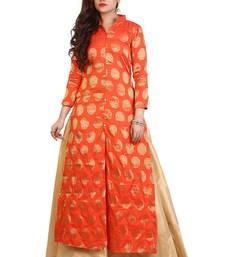 Orange Brocade Party wear Lehenga Suit anarkali-lehenga