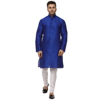 Blue Plain Raw Silk Kurta Pajama