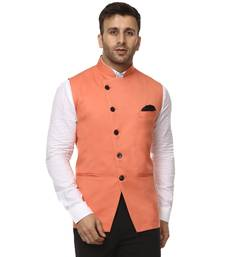 Pink plain cotton poly nehru jacket