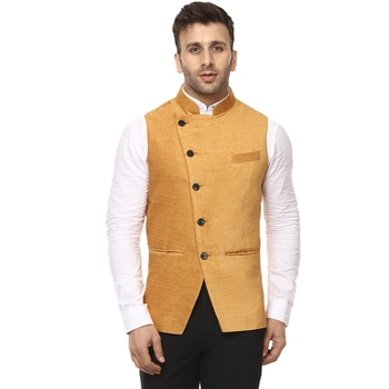 Gold plain velvet nehru jacket