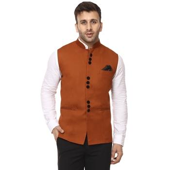Brown Plain Cotton Poly Nehru Jacket