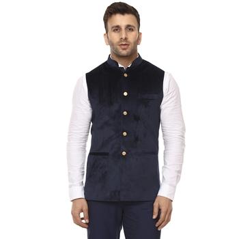 Blue Plain Velvet Nehru Jacket