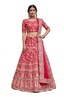 7ce0e7098f1d0 Pink embroidered art silk unstitched lehenga