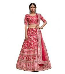 Pink embroidered art silk unstitched lehenga