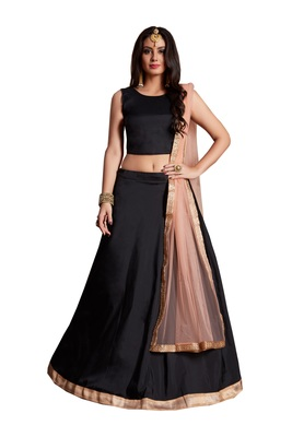 Black Embroidered Silk Unstitched Lehenga