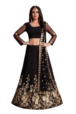 Black Sequins Embroidered velvet Semi Stitched lehenga choli with dupatta