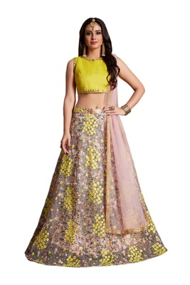 Baby Pink and Yellow resham Embroidered Net Semi Stitched Lehenga