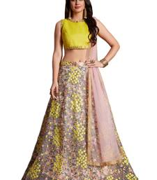 Light pink embroidered art silk unstitched lehenga