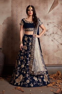 Blue Zari And Sequins Embroidered Velvet Semi Stitched Lehenga Choli With Dupatta