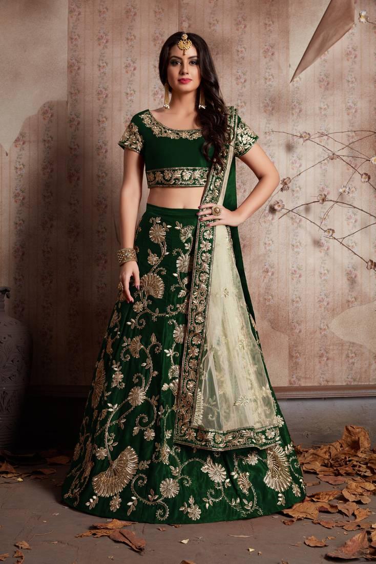Green Zari And Sequins Embroidered Velvet Semi Stitched Lehenga Choli With Dupatta Meghalya 2802997