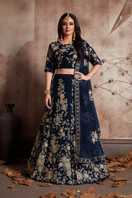 Blue embroidered velvet unstitched lehenga