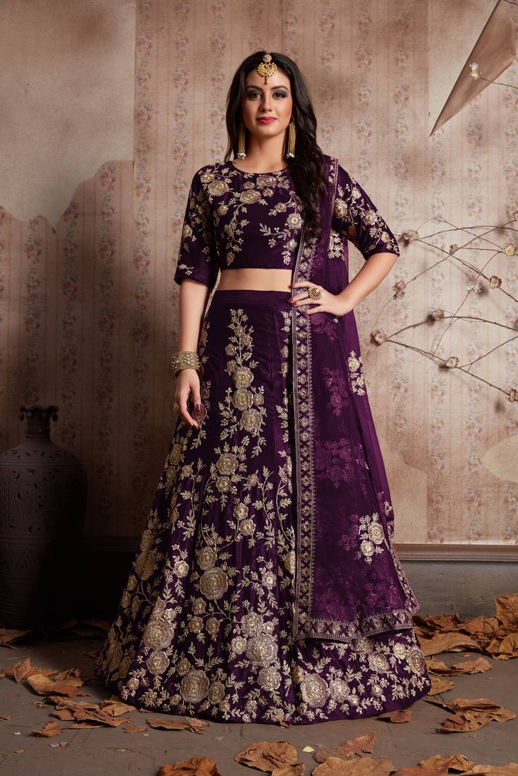 Purple Dori And Sequins Embroidered Velvet Semi Stitched Lehenga Choli With Dupatta Meghalya 2803000