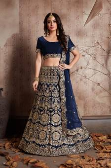 6e9e5f49c Navy blue embroidered velvet unstitched lehenga
