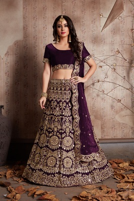 Wine Sequins Embroidered Velvet Semi Stitched Lehenga Choli With Dupatta