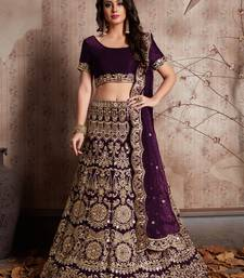 Wine Sequins embroidered velvet semi-stitched lehenga choli with dupatta