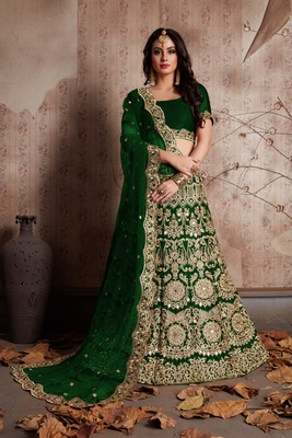 Green embroidered velvet unstitched lehenga