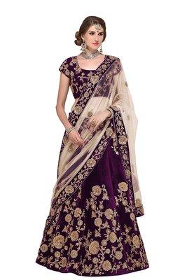 Purple embroidered velvet unstitched lehenga