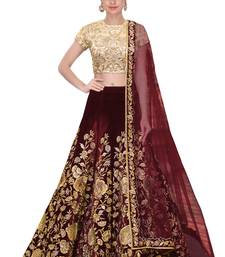 Maroon embroidered velvet unstitched lehenga