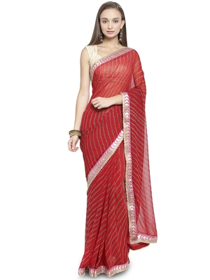Red woven faux georgette saree with blouse