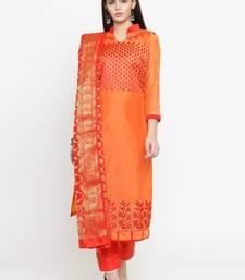 Orange embroidered chanderi salwar