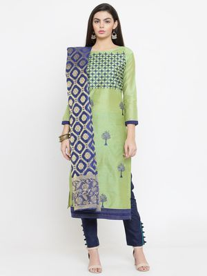 Parrot-green embroidered chanderi salwar