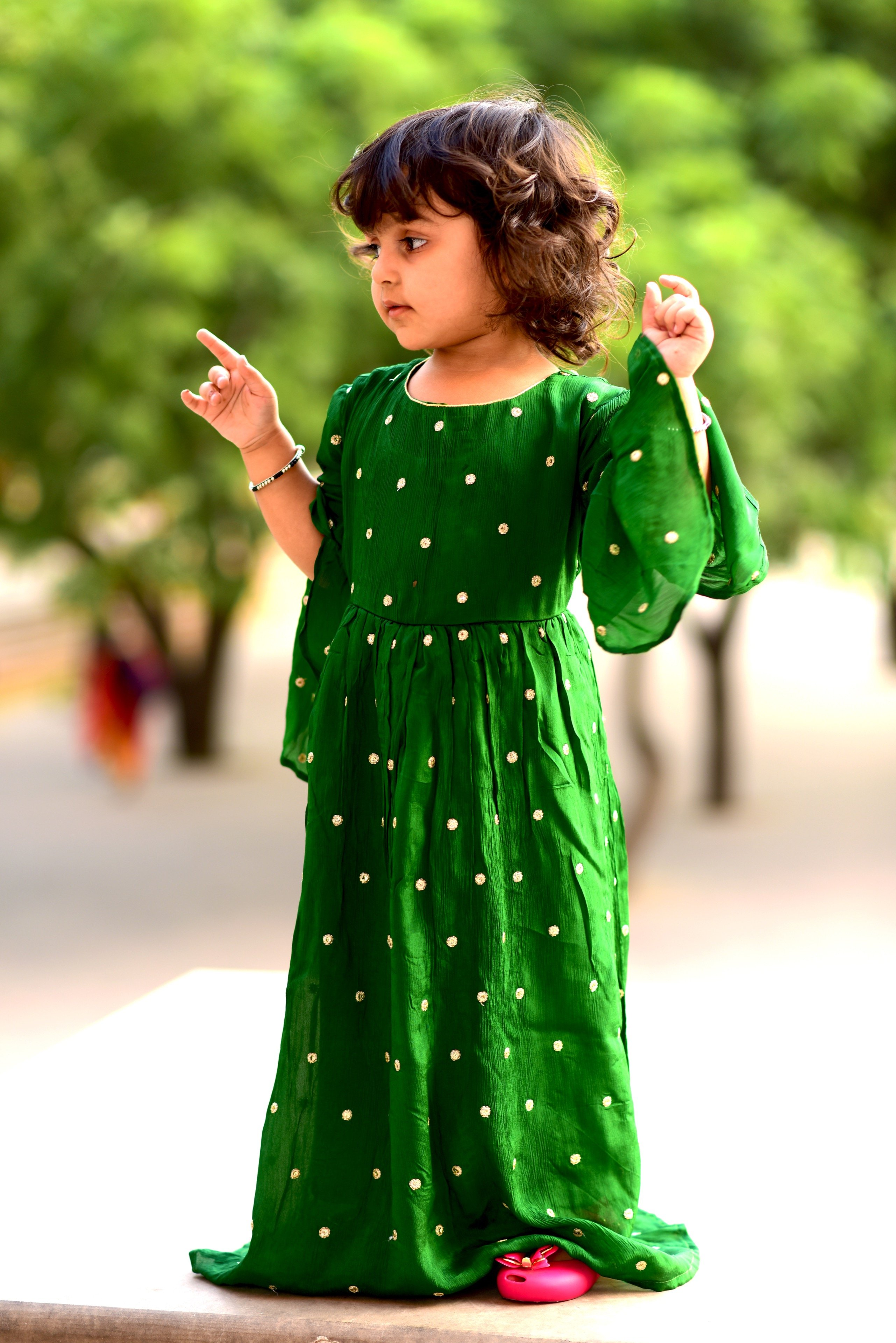 f23bbb1228d3f Green embroidered crepe kids girl gowns - Thread & Button - 2803163