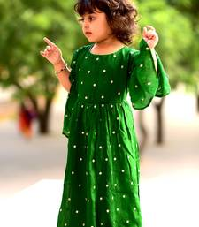 Buy Green embroidered crepe kids-girl-gowns kids-girl-gown online