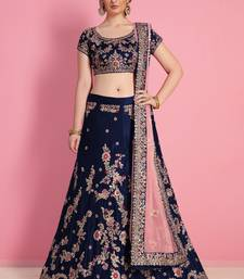 Navy blue embroidered velvet unstitched lehenga