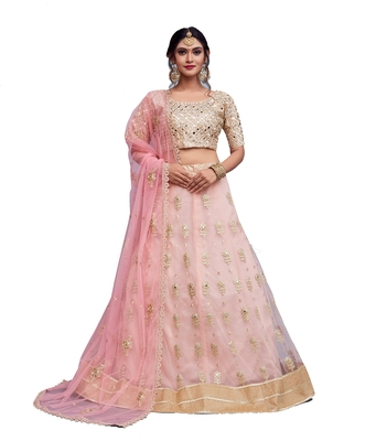 Light Pink Zari And Sequins Embroidered Art Silk Semi Stitched Lehenga