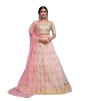 light pink zari and sequins embroidered art silk unstitched lehenga choli with dupatta