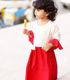 Buy Red plain rayon kids-girl-gowns kids-girl-gown online