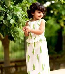 Buy White printed cotton stitched lehenga kids-lehenga-choli online