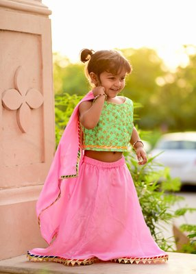 Pink Embroidered Satin Stitched Lehenga