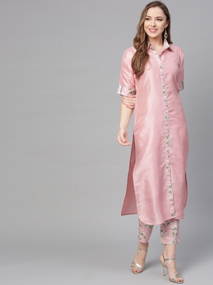 Pink printed polyester kurti with trouser