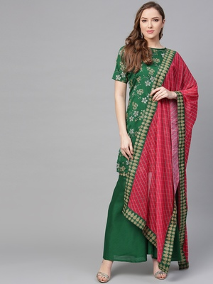 Green printed polyester kurti with palazzo and dupatta