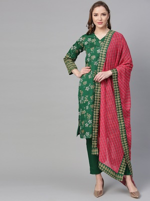 Green printed polyester kurti with trouser and dupatta