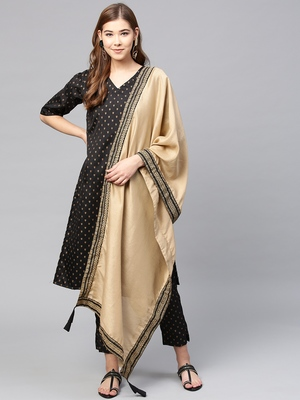 Black printed polyester kurti with trouser and dupatta