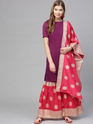 Purple plain polyester kurti with gharara bottom and dupatta