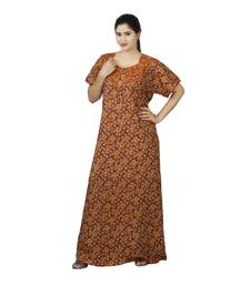 9d889f4802 Brown colour Floral Design Printed Round Neck Poly Cotton Nighty For Ladies  Nightwear