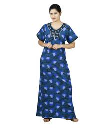Blue colour Leave Design Printed Round Neck Poly Cotton Nighty For Ladies Nightwear