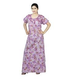 Buy Purple colour Floral Design Printed Round Neck Poly Cotton Nighty For Ladies Nightwear sleepwear online