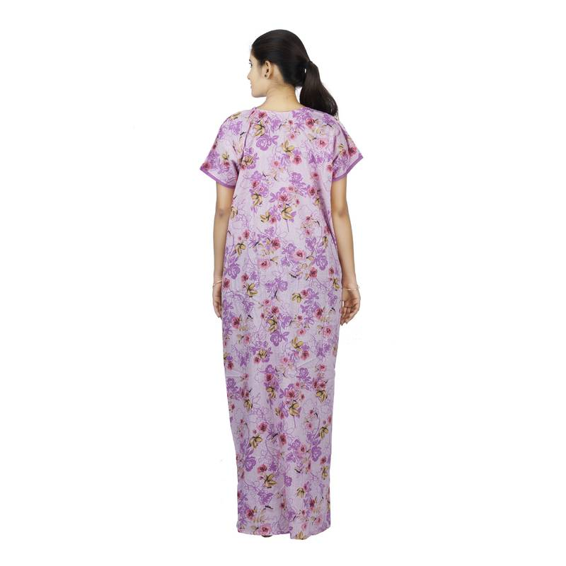 ... Purple colour Floral Design Printed Round Neck Poly Cotton Nighty For Ladies  Nightwear 861d03be2
