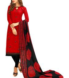 Red embroidered jacquard salwar